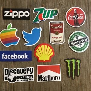 New 12 assorted brand stickers